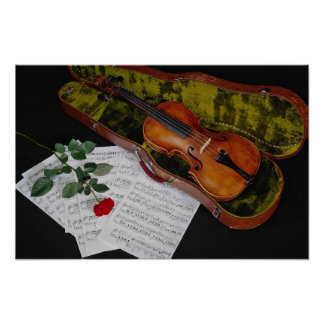 Violin and red rose on black background poster