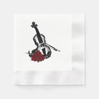 Violin and Roses Coined Cocktail Napkin