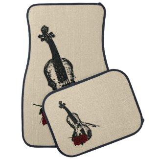 Violin and Roses Floor Mat