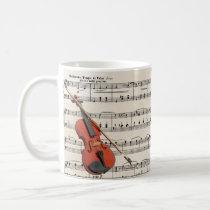 Violin and Roses Vintage Sheet Music Design Coffee Mug