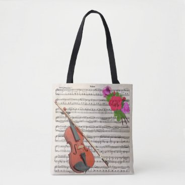 CreativeHorizon Violin and Roses Vintage Sheet Music Design Tote Bag