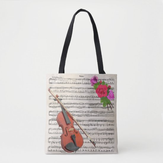 Violin and Roses Vintage Sheet Music Design Tote Bag