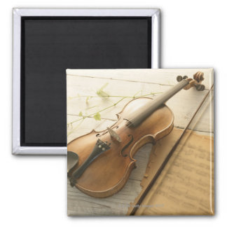 Violin and Sheet Music 2 Inch Square Magnet