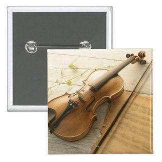 Violin and Sheet Music 2 Inch Square Button