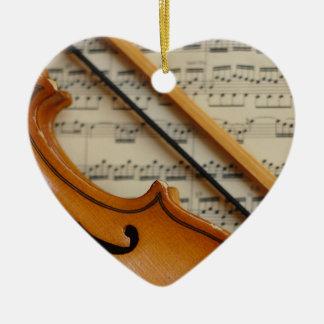 Violin and Sheet Music Ceramic Ornament