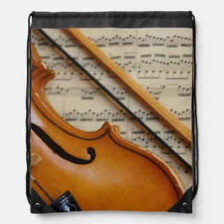 Violin and Sheet Music Drawstring Bag