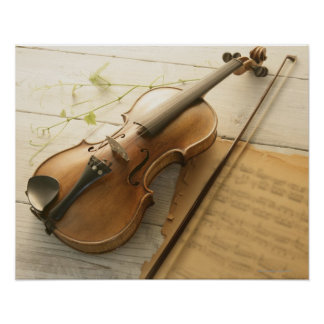 Violin and Sheet Music Poster