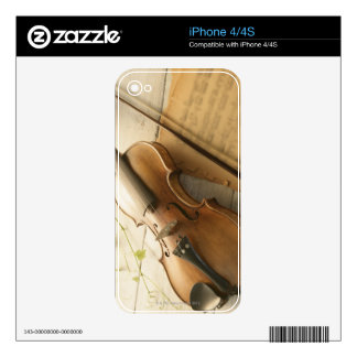 Violin and Sheet Music Skins For iPhone 4S