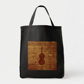Violín antiguo de la mirada bolsa de mano
