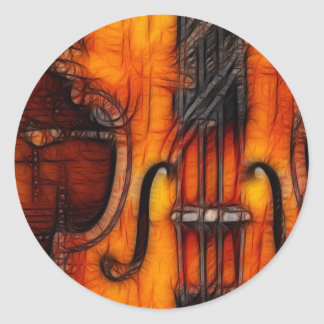 Violín artístico pegatina redonda