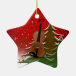 Violin at Christmas Double-Sided Star Ceramic Christmas Ornament