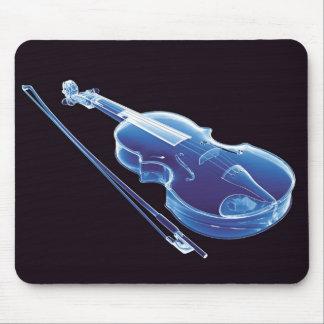 Violín azul de neón alfombrilla de raton