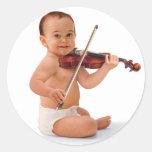 Violin Baby Round Stickers