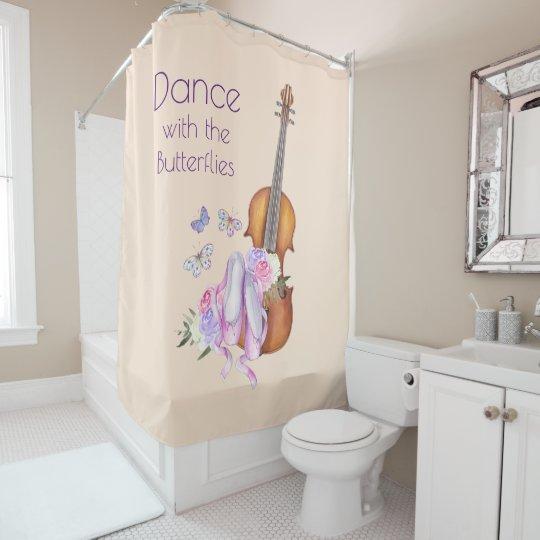 Violin Ballet Shoes Inspirational Dance Shower Curtain