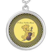 VIOLIN BEAR-NECKLACE SILVER PLATED NECKLACE