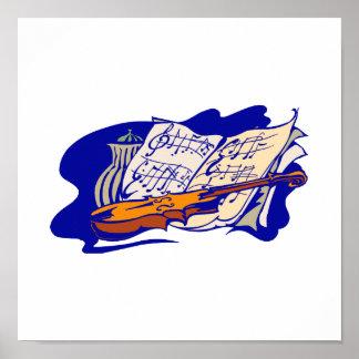 violin blue music jar still life.png poster