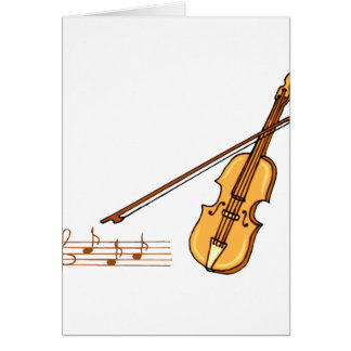 Violin bow and music  staff in brown graphic stationery note card