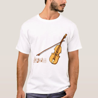 Violin bow and music  staff in brown graphic T-Shirt