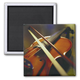 Violin & Bow Close-Up 1 2 Inch Square Magnet
