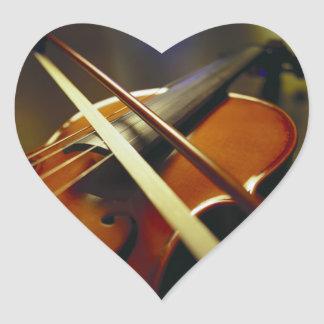 Violin & Bow Close-Up 1 Heart Sticker