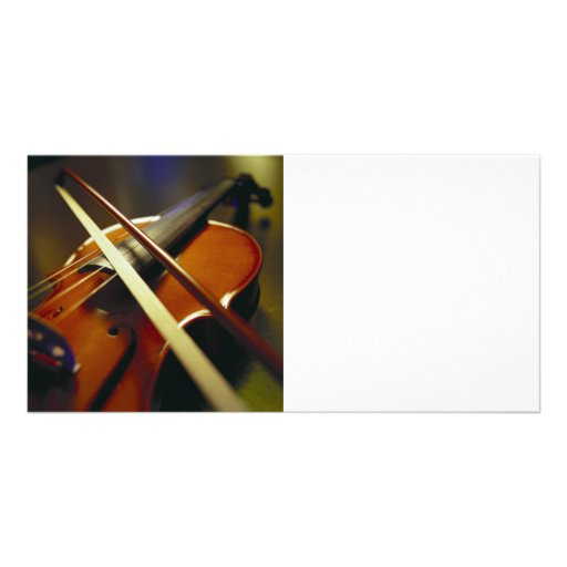 Violin & Bow Close-Up 1 Photo Card Template