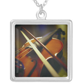 Violin & Bow Close-Up 1 Square Pendant Necklace