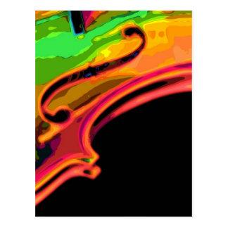 violín brillante de los colores postal
