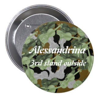Violin Camo Camouflage Pattern Custom Name Pinback Button