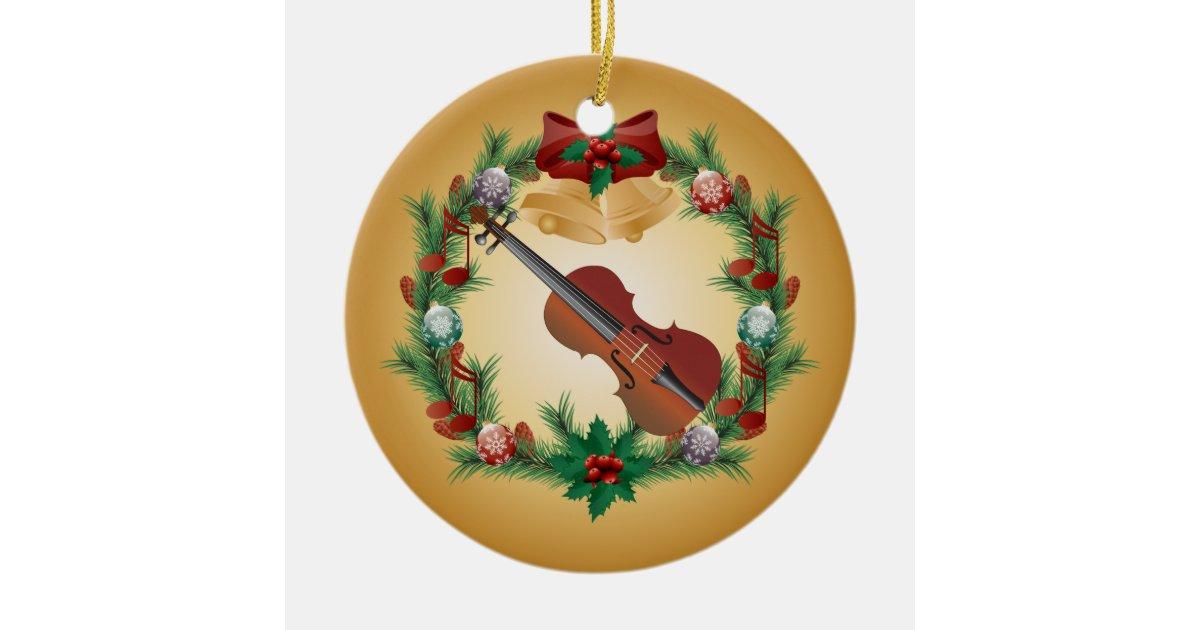Christmas Violin.Violin Christmas Wreath Music Ornament Gift Zazzle Com
