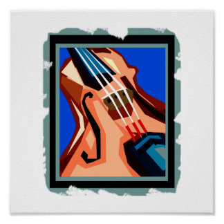 Violin close up graphic blue background abstract poster