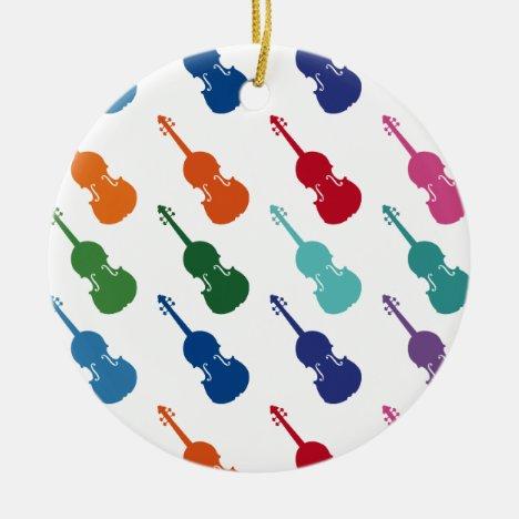 Violin Colorful Fun Array Music Ceramic Ornament
