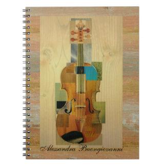 Violín compuesto libro de apuntes con espiral