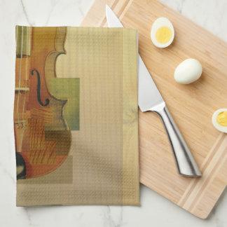 Violín compuesto toallas de mano