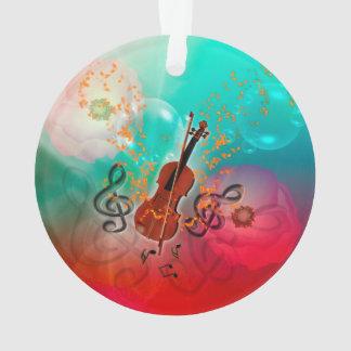 Violín con el arco de violín con el clef y las