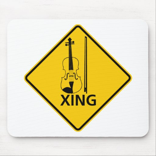 Violin Crossing Highway Sign Mouse Pad