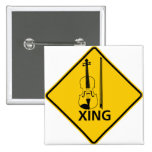 Violin Crossing Highway Sign Pin