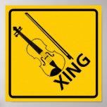 Violin Crossing Highway Sign Posters