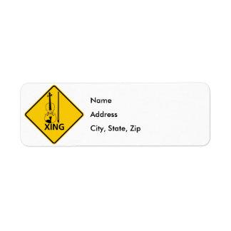 Violin Crossing Highway Sign Return Address Label
