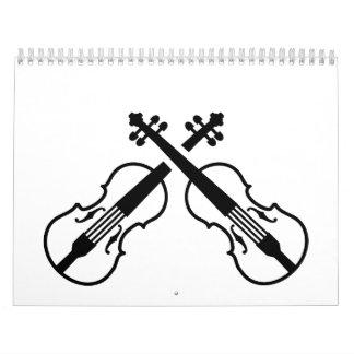 Violín cruzado del violín calendario
