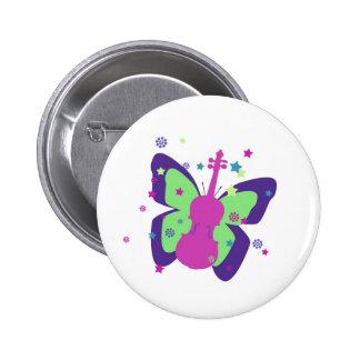 Violín de la mariposa pin redondo 5 cm