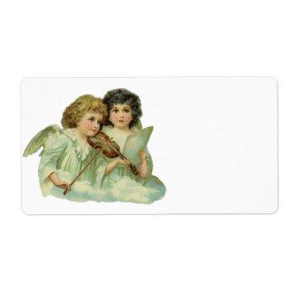 Violín de la música de los ángeles del navidad del etiqueta de envío