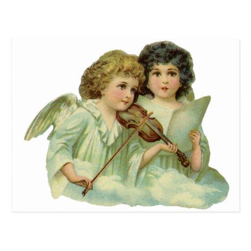 Violín de la música de los ángeles del navidad del postal