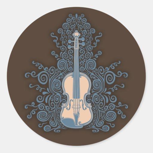 Violín de Swirly Pegatinas Redondas