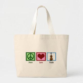 Violín del amor de la paz bolsa tela grande