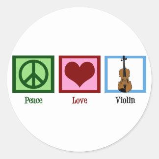 Violín del amor de la paz pegatina redonda