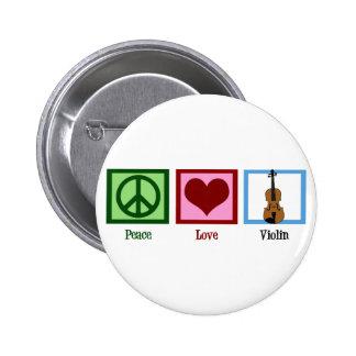 Violín del amor de la paz pin redondo de 2 pulgadas