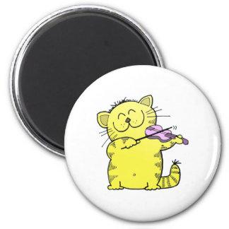 Violín del juego del gatito imán redondo 5 cm