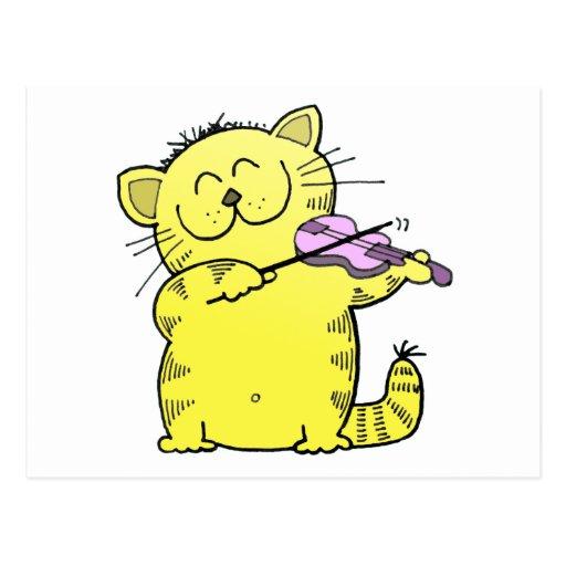 Violín del juego del gatito postales