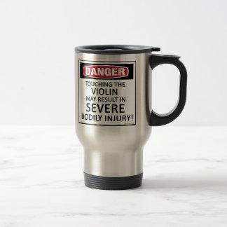 Violín del peligro taza de viaje de acero inoxidable