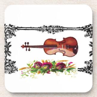 violín en la caja de flores posavasos